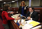 Nevada Assembly members, from left, Robin Titus, R-Wellington, Ellen Spiegel, D-Henderson, and James Ohrenschall, D-Las Vegas, work on the Assembly floor at the Legislative Building in Carson City, Nev., on Monday, March 16, 2015. <br /> Photo by Cathleen Allison