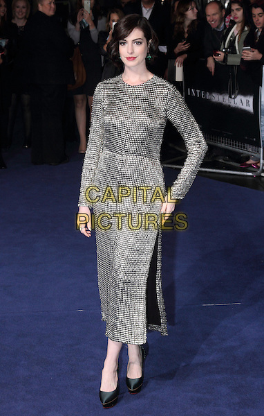 LONDON, ENGLAND - OCTOBER 29: Anne Hathaway attends the &quot;Interstellar&quot; European film premiere, Odeon Leicester Square, on Wednesday October 29, 2014 in London, England, UK. <br /> CAP/ROS<br /> &copy;Steve Ross/Capital Pictures