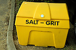 Yellow roadside container to salt and grit