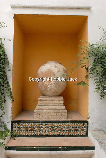 An Urn in the gardens at El Alcazar in Seville, Spain.