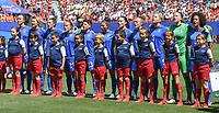 20190629 - VALENCIENNES , FRANCE : Italian team with  Laura Giuliani (1)   Valentina Bergamaschi (2)   Sara Gama (3)   Aurora Galli (4)   Elena Linari (5)   Alia Guagni (7)   Barbara Bonansea (11)   Elisa Bartoli (13)   Valentina Giacinti (19)   Valentina Cernoia (21)   Manuela Giugliano (23)   pictured during the female soccer game between Italy  - Squadra Azzurrine - and The Netherlands  – Oranje Leeuwinnen - , a knock out game in the quarter finals of the FIFA Women's  World Championship in France 2019, Saturday 29 th June 2019 at the Stade du Hainaut Stadium in Valenciennes , France .  PHOTO SPORTPIX.BE | DIRK VUYLSTEKE
