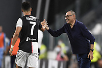 20th July 20202, Allianz Stadium, Turin, Italy; Serie A football league, Juventus versus Lazio; Cristiano Ronaldo  celebrates scoring his 2nd goal for 2-0 in the 54th minute with manager Sarri