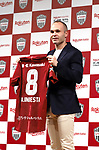 May 24, 2018, Tokyo, Japan - Spanish midfielder Andres Iniesta of former FC Barcelona shows his new uniform as he joins Vissel Kobe of Japan's professional football league J-League in Tokyo on Thursday, May 24, 2018. Vissel Kobe is owned by Japanese online commerce giant Rakuten and Rakuten is now uniform sponsor of FC Barcelona.   (Photo by Yoshio Tsunoda/AFLO) LWX -ytd-