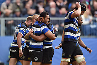 Robbie Fruean of Bath Rugby celebrates his second half try with team-mates. Aviva Premiership match, between Bath Rugby and Gloucester Rugby on April 30, 2017 at the Recreation Ground in Bath, England. Photo by: Patrick Khachfe / Onside Images