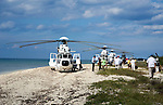 Presidential helicopter brigade landed at beach at Cozumel, Mexico