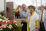 "Maureen Lipman and Michael Pattemore visit the ""Lynda Bellingham Rose"" At the RHS Hampton Court Flower show, London 29.6.15"