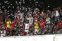 CUCUTA -COLOMBIA- 11-12--2013. Hinchas del Cucuta Deportivo antes de que su equipo se fuera a la segunda  division Accion de juego  del  partido de vuelta entre los equipos Cucuta Deportivo y Fortaleza FC encuentro  correspondiente  a la promocion del futbol profesional colombiano ,  estadio General Santander  / Cucuta Deportivo fans before his team left for the second division of Action leg game between teams and Fortaleza FC Deportivo Cucuta meeting relevant to the promotion of the Colombian professional football, General Santander stadium.Photo: VizzorImage / Manuel Hernandez  / Stringer