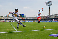 The UNAM university team Pumas plays a home game against Necaxa.  Final score 2-0.  CU, Mexico DF