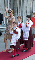 TRONDHEIM, NORWAY - JUNE 23:  Princess Martha Louise of Norway, and her daughters, Emma Tallulah Behn, Leah Isadora Behn, and Maud Angelica Behn  attend a service at Nidaros Cathedral on a visit to Trondheim, during the King and Queen of Norway's Silver Jubilee Tour, on June 23, 2016 in Trondheim, Norway.
