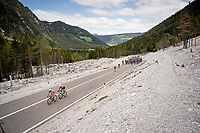 first breakaway attempt of the day by Mirco Maestri (ITA/Bardiani - CSF) & Marco Frapporti (ITA/Androni-Giocattoli)<br /> <br /> Stage 18: Valdaora/Olang to Santa Maria di Sala (222km)<br /> 102nd Giro d'Italia 2019<br /> <br /> ©kramon