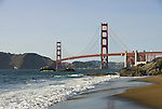 San Francisco: Baker Beach with Golden Gate Bridge in background.  Photo # 2-casanf83487.  Photo copyright Lee Foster