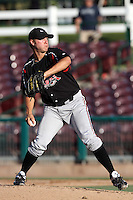 Mark Pope #12 of the Lake Elsinore Storm pitches against the Inland Empire 66'ers at San Manuel Stadium on July 15, 2012 in San Bernardino, California. Inland Empire defeated Lake Elsinore 4-3. (Larry Goren/Four Seam Images)