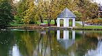 A Gazebo On A Quiet Pond During Autumn, Southwestern Ohio, USA