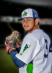 13 June 2018: Vermont Lake Monsters pitcher Oscar Tovar poses for a portrait on Photo Day at Centennial Field in Burlington, Vermont. The Lake Monsters are the Single-A minor league affiliate of the Oakland Athletics, and play a short season in the NY Penn League Stedler Division. Mandatory Credit: Ed Wolfstein Photo *** RAW (NEF) Image File Available ***