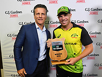 Winning captain David Warner.<br /> New Zealand Black Caps v Australia.Tri-Series International Twenty20 cricket final. Eden Park, Auckland, New Zealand. Wednesday 21 February 2018. &copy; Copyright Photo: Andrew Cornaga / www.Photosport.nz