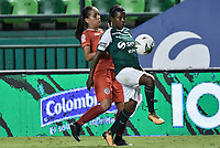 PALMIRA - COLOMBIA, 03-08-2019: Carmen Rodallega del Cali disputa el balón con Karen Balcazar de Cortulua durante partido entre Deportivo Cali y Cortuluá por la fecha 4 de la Liga Femenina Águila 2019 jugado en el estadio Deportivo Cali de la ciudad de Palmira. / Carmen Rodallega of Cali vies for the ball with Karen Balcazar of Cortulua during match between Deportivo Cali and Cortulua for the date 4 as part Aguila Women League 2019 played at Deportivo Cali stadium in Palmira city. Photo: VizzorImage / Gabriel Aponte / Staff