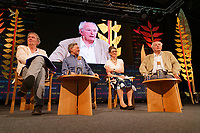 Pictured: (L-R) Hamish Fyfe, Jack Zipes, Marina Warner and Philip Pullman.<br /> Re: Hay Festival at Hay on Wye, Powys, Wales, UK. Saturday 02 June 2018