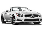 Low aggressive passenger side front three quarter view of a 2013 Mercedes-Benz SL-Class SL63 AMG Convertible