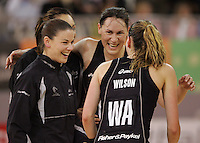 21.07.2007 Silver Ferns Maree Bowden, Joline Henry, Jodi Te Hun and Adine Wilson celebrate after the Silver Ferns v Australia Netball Test Match at Vodafone Arena, Melbourne Australia. The Silver Ferns won 67-65 after double extra time. Mandatory Photo Credit ©Michael Bradley. **$150 + GST USAGE FEE DOES APPLY**
