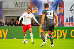07.10.2018, Red Bull Arena, Leipzig, GER, 1. FBL 2018/2019, RB Leipzig vs. 1. FC N&uuml;rnberg/Nuernberg,<br /> <br /> DFL REGULATIONS PROHIBIT ANY USE OF PHOTOGRAPHS AS IMAGE SEQUENCES AND/OR QUASI-VIDEO.<br /> <br /> im Bild<br /> <br /> <br /> Yussuf Poulsen (#9, RB Leipzig), <br /> <br /> Foto &copy; nordphoto / Dostmann