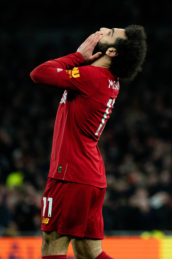 Liverpool's Mohamed Salah misses his shot<br /> <br /> Photographer Stephanie Meek/CameraSport<br /> <br /> The Premier League - Tottenham Hotspur v Liverpool - Saturday 11th January 2020 - Tottenham Hotspur Stadium - London<br /> <br /> World Copyright © 2020 CameraSport. All rights reserved. 43 Linden Ave. Countesthorpe. Leicester. England. LE8 5PG - Tel: +44 (0) 116 277 4147 - admin@camerasport.com - www.camerasport.com