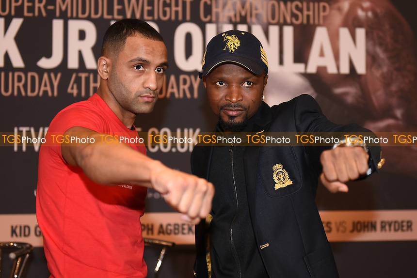 Boxers Kid Galahad (L) and Joesph Agbeko during a Poxon Sports Press Conference at the Apex Room on 2nd February 2017