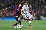21.04.2015 Barceloona. UEFA Champions League, Quarter-finals 2nd leg. Picture show Leo Messi and David Luiz in action during game between FC Barcelona against Paris Saint-Germain at Camp Nou