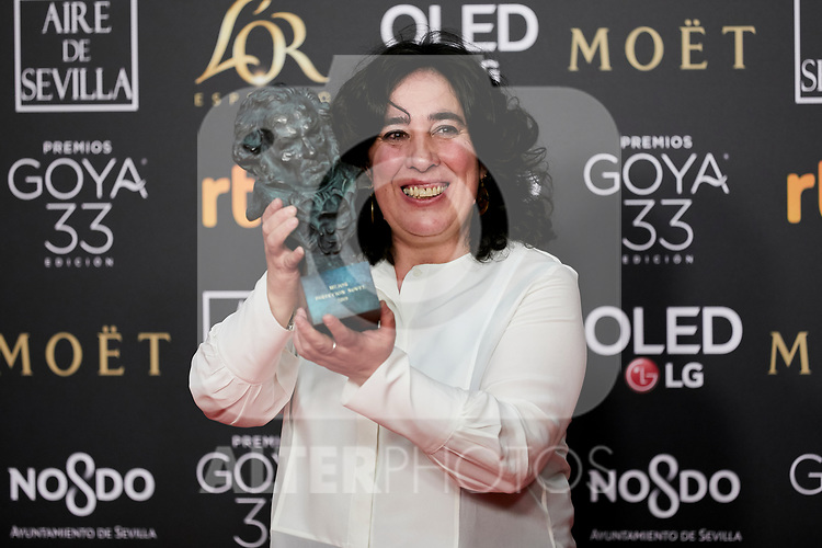 Arantxa Etxevarria (best new direction award for 'Carmen y Lola') attends to 33rd Goya Awards at Fibes - Conference and Exhibition  in Seville, Spain. February 03, 2019. (ALTERPHOTOS/A. Perez Meca)