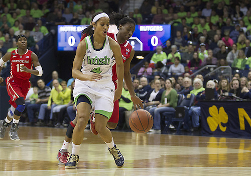 January 13, 2013:  Notre Dame guard Skylar Diggins (4) drives to the basket as Rutgers guard Erica Wheeler (3) defends during NCAA Basketball game action between the Notre Dame Fighting Irish and the Rutgers Scarlett Knights at Purcell Pavilion at the Joyce Center in South Bend, Indiana.  Notre Dame defeated Rutgers 71-46.