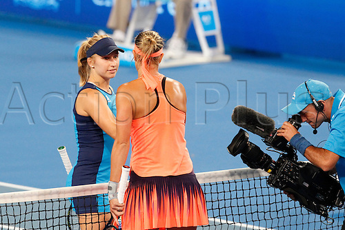 03.01.2017. Perth Arena, Perth, Australia. Mastercard Hopman Cup International Tennis tournament. Daria Gavrilova (AUS) congratulates Lucie Hradecka (CZE) on winning their match 4-6, 6-4, 6-4.