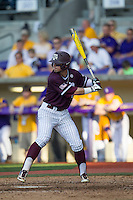 Texas A&M Aggies outfielder Nick Banks (4) at bat during the Southeastern Conference baseball game against the LSU Tigers on April 25, 2015 at Alex Box Stadium in Baton Rouge, Louisiana. Texas A&M defeated LSU 6-2. (Andrew Woolley/Four Seam Images)