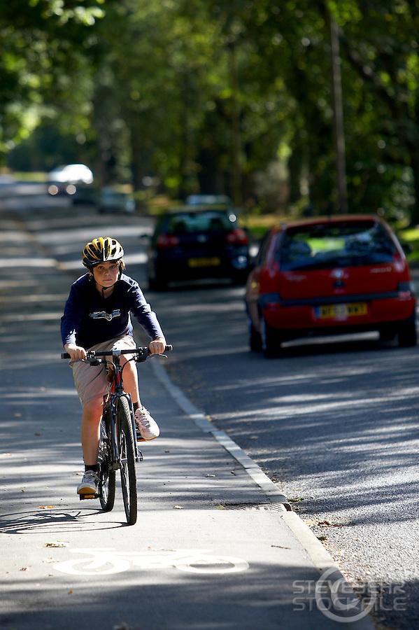 Josh  riding Isla bike..Virginia Water , Surrey , September 2009.