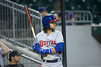 Bo Bichette (13) of the Buffalo Bisons waits for his turn to bat during the game against the Charlotte Knights at BB&T BallPark on July 24, 2019 in Charlotte, North Carolina. The Bisons defeated the Knights 8-4. (Brian Westerholt/Four Seam Images)