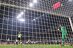 Gianluigi Donnarumma of AC Milan is ordered to take his position on the goal line by referee Paolo Valeri to face Cristiano Ronaldo of Juventus's penalty during the Coppa Italia match at Giuseppe Meazza, Milan. Picture date: 13th February 2020. Picture credit should read: Jonathan Moscrop/Sportimage