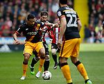 Kieron Freeman of Sheffield Utd in action with James Meredith of Bradford City during the English League One match at Bramall Lane Stadium, Sheffield. Picture date: April 17th 2017. Pic credit should read: Simon Bellis/Sportimage