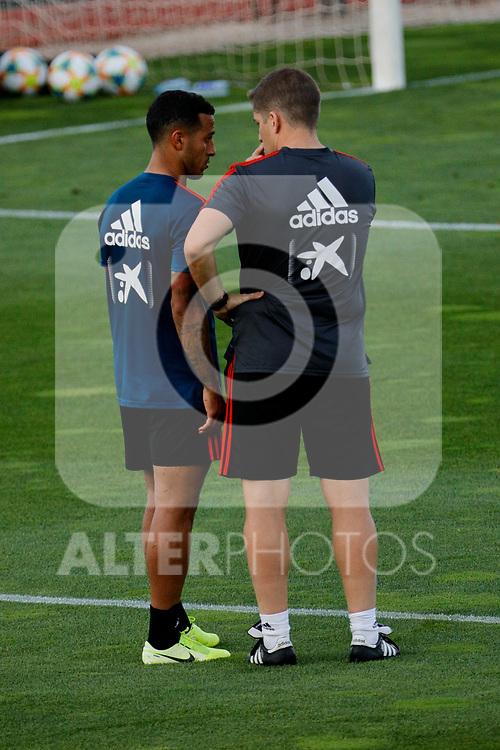 Thiago Alcantara and Robet Moreno during the Trainee Session at Ciudad del Futbol in Las Rozas, Spain. September 02, 2019. (ALTERPHOTOS/A. Perez Meca)