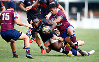 DURBAN, SOUTH AFRICA - APRIL 19: Alex Mafi of The St.George Queensland Reds tackling Tendai Beast Mtawarira of the Cell C Sharks during the Super Rugby match between Cell C Sharks and Reds at Jonsson Kings Park Stadium on April 19, 2019 in Durban, South Africa. Photo: Steve Haag / stevehaagsports.com