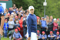 Matthew Fitzpatrick (ENG) misses his putt on the 18th green on the 2nd playoff hole during Sunday's Final Round of the 2017 Omega European Masters held at Golf Club Crans-Sur-Sierre, Crans Montana, Switzerland. 10th September 2017.<br /> Picture: Eoin Clarke | Golffile<br /> <br /> <br /> All photos usage must carry mandatory copyright credit (&copy; Golffile | Eoin Clarke)