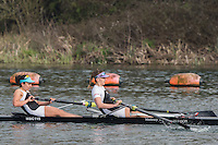 Caversham. Berkshire. UK<br /> Women's pair, Gabby RODRIGUEZ and Aimee JONCKERS, competing in the  2016 GBRowing U23 Trials at the GBRowing Training base near Reading, Berkshire.<br /> <br /> Monday  11/04/2016 <br /> <br /> [Mandatory Credit; Peter SPURRIER/Intersport-images]