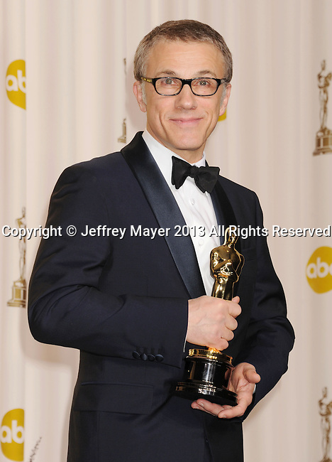 HOLLYWOOD, CA - FEBRUARY 24: Christoph Waltz poses in the press room the 85th Annual Academy Awards at Dolby Theatre on February 24, 2013 in Hollywood, California.