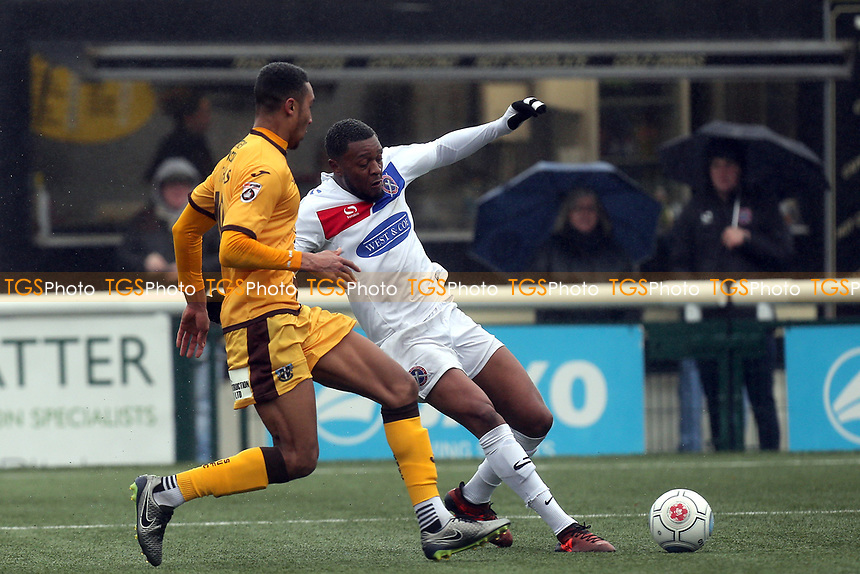 Morgan Ferrier of Dagenham and Terell Thomas of Sutton during Sutton United  vs Dagenham & Redbridge, Vanarama National League Football at the Borough Sports Ground on 20th January 2018