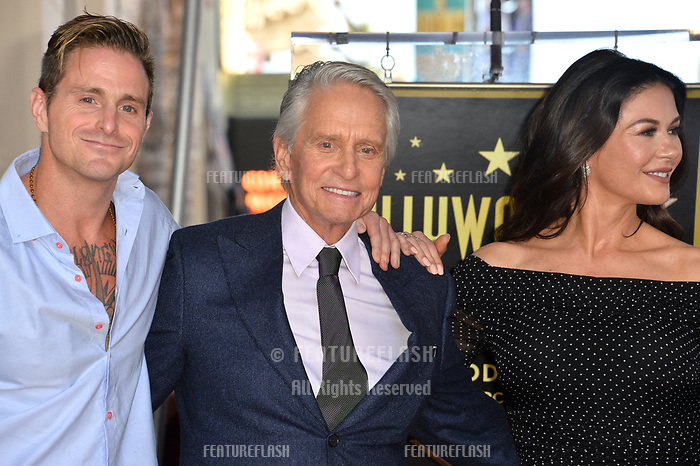 LOS ANGELES, CA. November 06, 2018: Cameron Douglas, Michael Douglas &amp; Catherine Zeta-Jones at the Hollywood Walk of Fame Star Ceremony honoring actor Michael Douglas.<br /> Pictures: Paul Smith/Featureflash