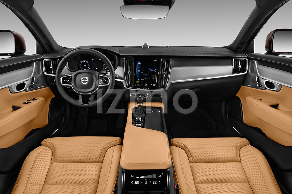 Stock photo of straight dashboard view of a 2017 Volvo V90 Corss Country Pro 5 Door Wagon
