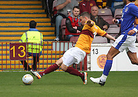 Simon Ramsden playing the ball in the Motherwell v Everton friendly match at Fir Park, Motherwell on 21.7.12 for Steven Hammell's Testimonial.