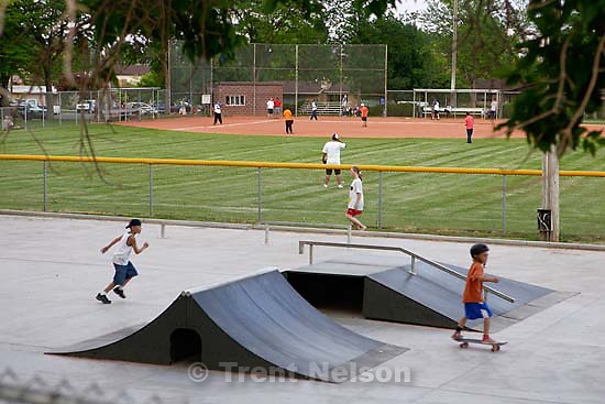 skateboard park and baseball diamond.<br />