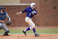 Dane McDermott (7) of the High Point Panthers follows through on his swing against the UNCG Spartans at Willard Stadium on February 14, 2015 in High Point, North Carolina.  The Panthers defeated the Spartans 12-2.  (Brian Westerholt/Four Seam Images)