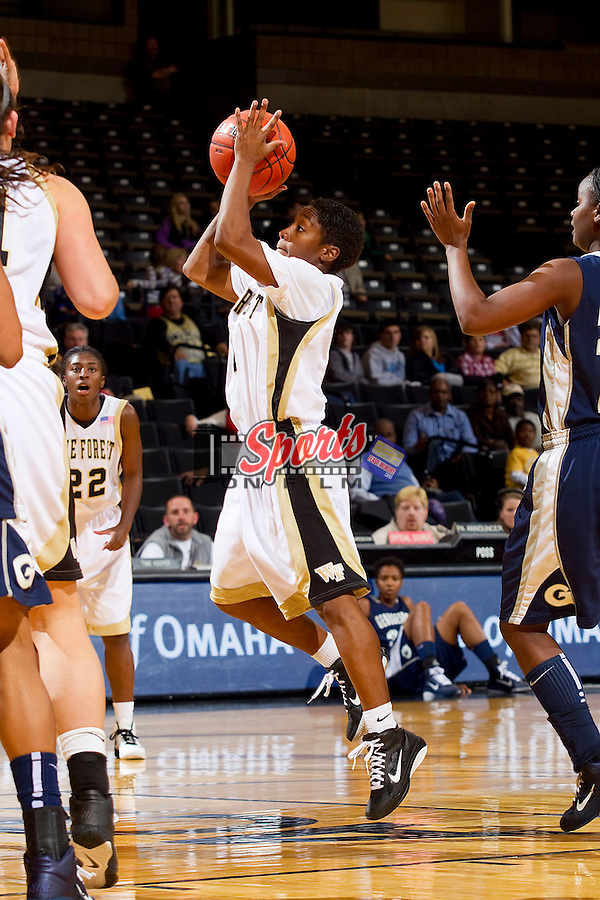 Brooke Thomas #1 of the Wake Forest Demon Deacons drives to the basket against the Georgetown Hoyas at the Lawrence Joel Coliseum on December 4, 2010 in Winston-Salem, North Carolina.  Photo by Brian Westerholt / Sports On Film