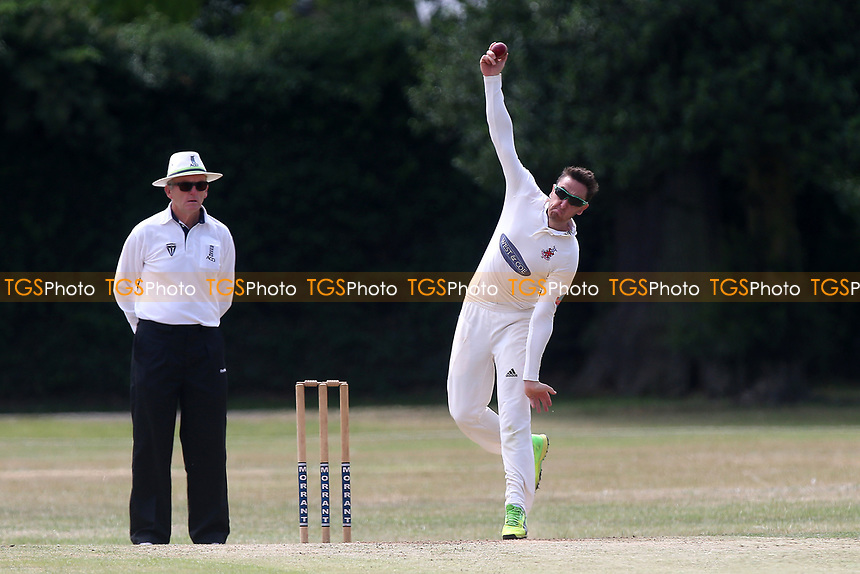 R Saunders in bowling action for Hornchurch during Upminster CC (batting) vs Hornchurch CC, Shepherd Neame Essex League Cricket at Upminster Park on 8th July 2017