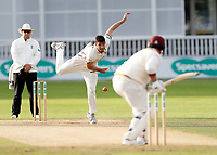 Grant Stewart of Kent bowls to Richard Levi during the County Championship Division Two (day 3) game between Kent and Northants at the St Lawrence ground, Canterbury, on Sept 4, 2018.