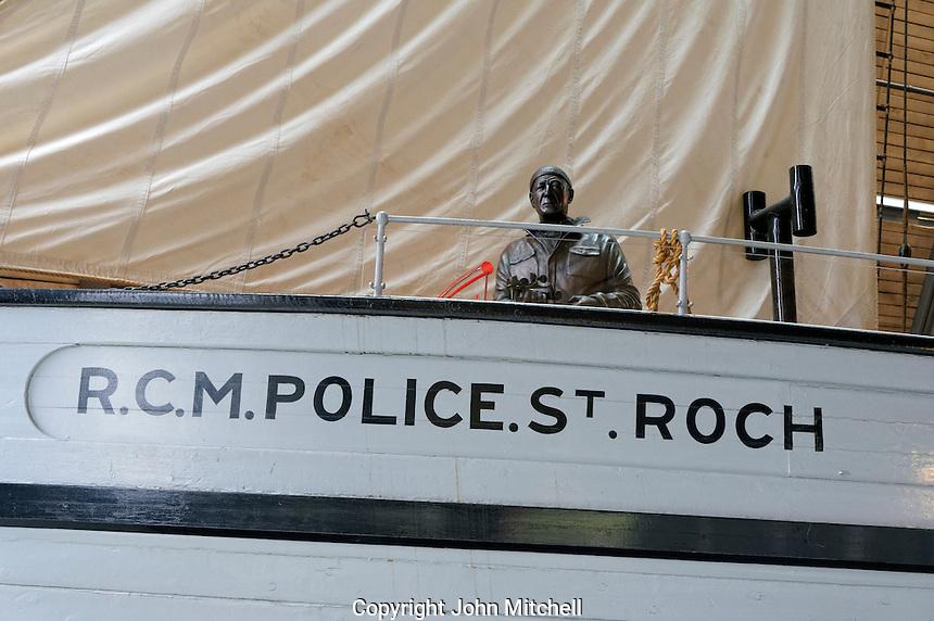 Captain Henry Larsen statue on deck of RCMP St. Roch schooner, Vancouver Maritime Museum, Vancouver, BC, Canada